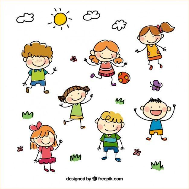 Bambini Sketchy Vettore gratuito