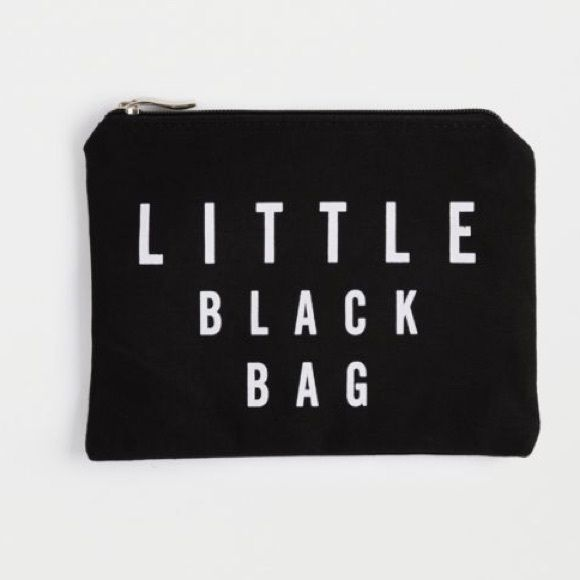 Little Black Bag What wonders does your makeup bag hold? This cute canvas bag is perfect for carrying all of your cosmetic essentials to keep you looking flawless throughout the day. Zip closure Measures: 6 in. h x 8 in. wide 100% cotton L&M Boutique  Bags Cosmetic Bags & Cases