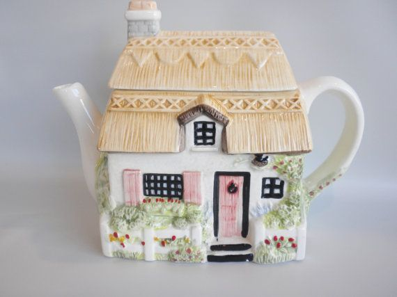Little Cottage Teapot Ceramic Teapot House Teapot by oldandnew8, $19.00