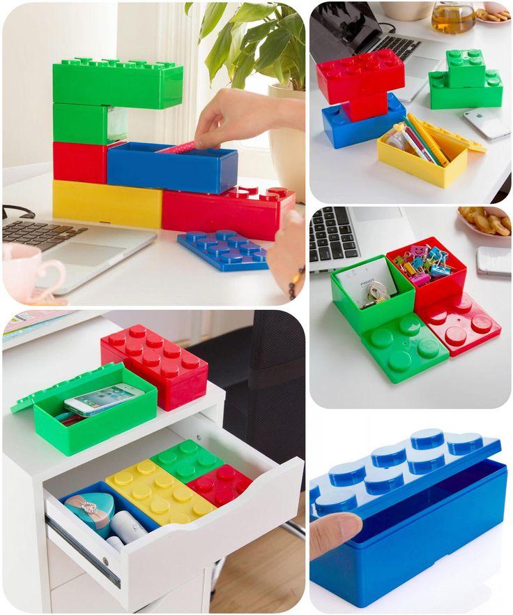 [Visit to Buy] 1pcs Building blocks modeling stackable storage box, desktop storage box office stationery plastic storage box K5023 #Advertisement