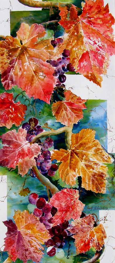 Before the Wine Painting by Sandy Schnieders ~ mixed media ~ grapevine in autumn