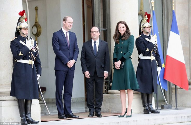 The Duke and Duchess of Cambridge meet French President Francois Hollande at Elysee Palace as they arrive this afternnon
