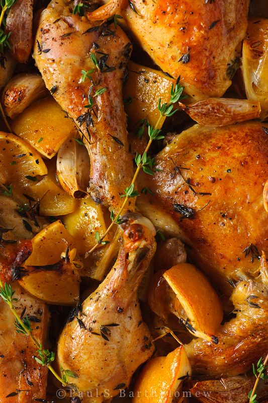 Slow Roasted Chicken with Lemon and Garlic (Nigella Lawson).  I think you could cook in the crock pot all day on low and finish in the oven after work.