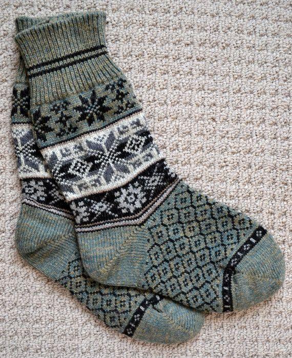 Wollsocken, norwegische skandinavische Volkskunst, handgefertigt, 100 % Wolle, Größe: XL, Selbu Rose Snowflake Fair Isle