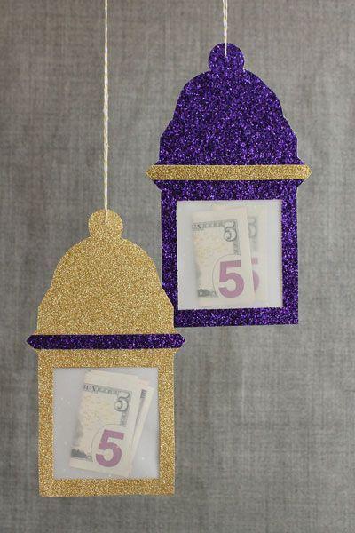 Eid money hanging in paper lanterns. Craft by Hello Holy Days! for Martha Stewart.