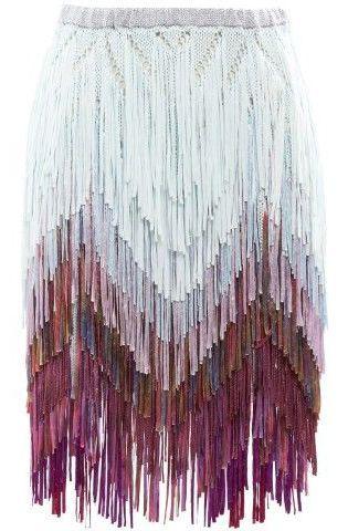Tim Ryan Fine Fringed Knit Skirt - Browns