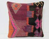 kilim rug pillow 18x18 turkish cushion cover moroccan cushion western pillow case big throw pillow modern cushion cover bench cushion 25728