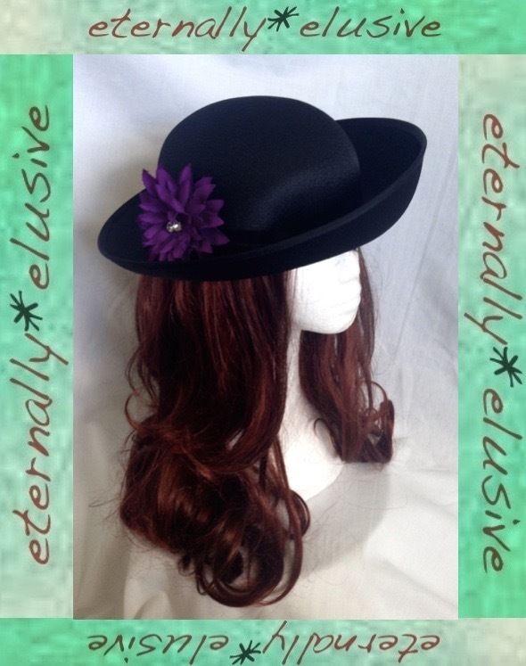Vintage 1980s Black Tilted Brim Bowler Occasion Hat Purple Diamante Removable Flower Band Women Ladies
