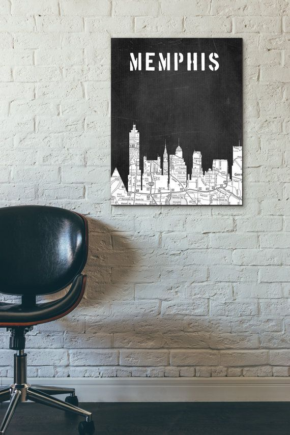 Memphis City Skyline Black and White ArtBlack and White