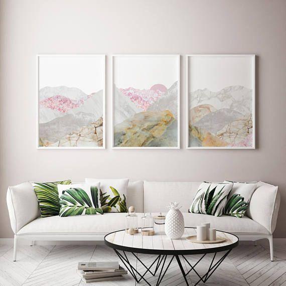 Save 10 Framed Picture Wall Art Set For Living Room Pink Etsy Frames On Wall Large Framed Wall Art White Living Room Decor
