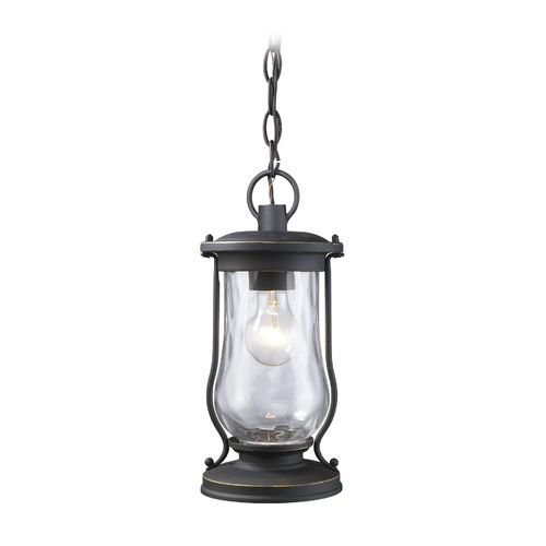 Elk Lighting Outdoor Hanging Light with Clear Glass in Matte Black Finish | 43017/1 | Destination Lighting