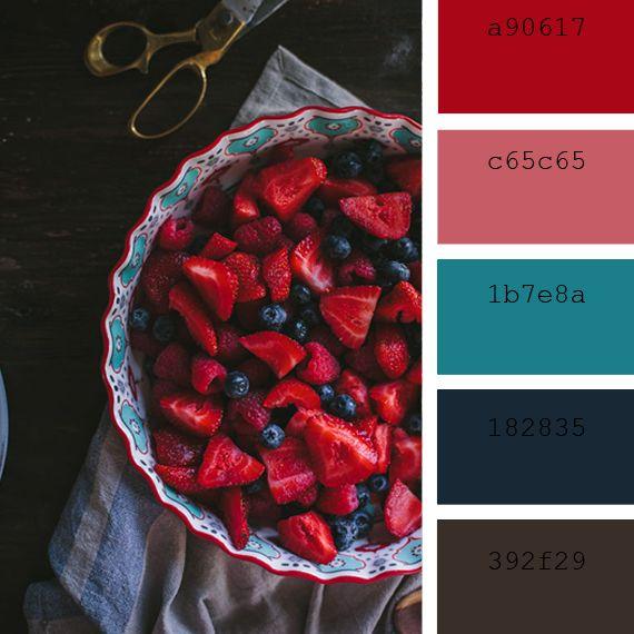 #paleta #colores #intensos #rojo #morado #postre #frutas