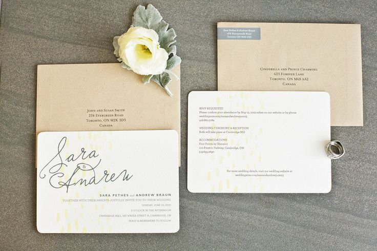 A sweet suite from @Minted | Cambridge Mill Wedding from Debra Eby + Ashley Lindzon Events  Read more - http://www.stylemepretty.com/canada-weddings/2013/08/20/cambridge-mill-wedding-from-debra-eby-ashley-lindzon-events/