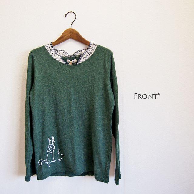 猫 北欧刺繍 レース 長袖Tシャツ カットソー グリーン(緑)