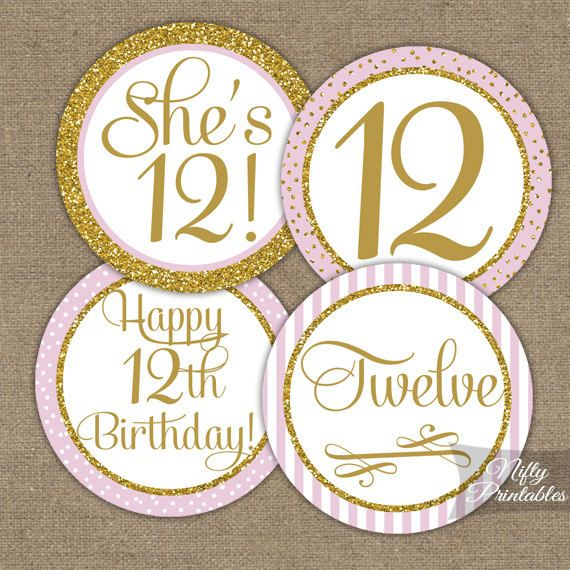 12th Birthday Cupcake Toppers  Twelfth Birthday by NiftyPrintables
