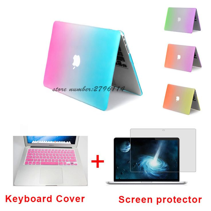 Fashion Matte Rainbow Hard Protector Case For MacBook Air 11 Pro 13 / 15 inch with Retina + Pink Keyboard Cover Free Shipping #Affiliate
