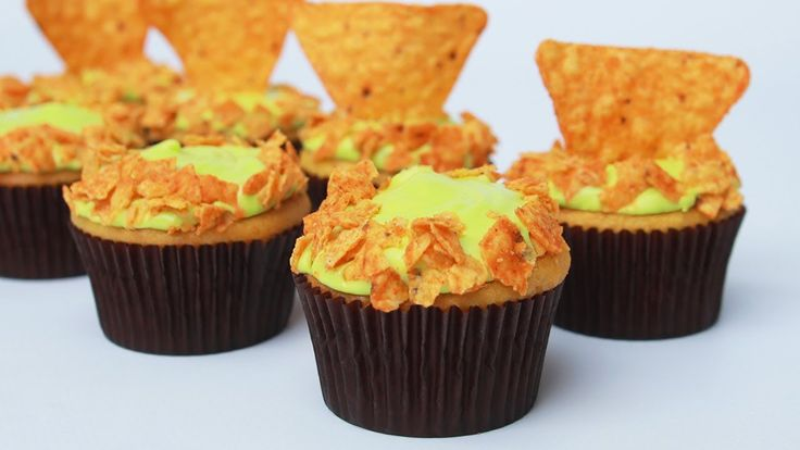 MOUNTAIN DEW DORITOS CUPCAKES - NERDY NUMMIES....IDK if I would eat these, but cool none the less.
