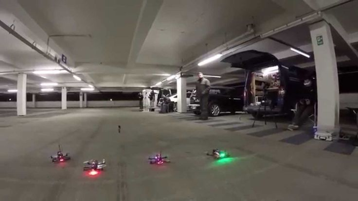 Racing in the indoor carpark with our 250 sized quadcopters. If you want your own 250 racing quad check this out: http://www.quadcopters.co.uk/emax-nighthawk...