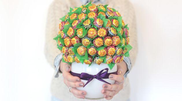 Selbstgemachter Lollipop Strauß zum Valentinstag