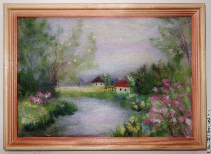 """Купить Картина из шерсти """" Хуторок"""" - картина из шерсти, пейзаж, природа, река, деревня, деревья"""