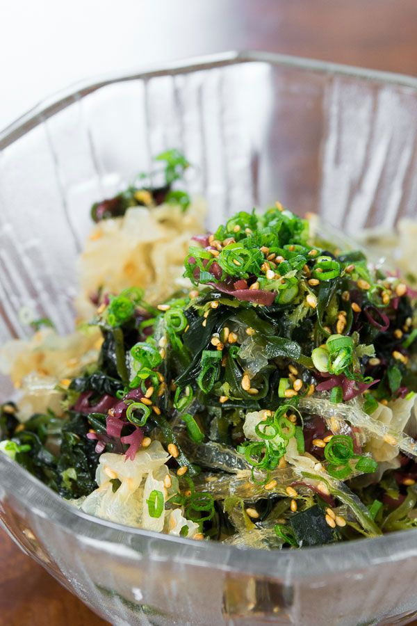 Japanese Seaweed Salad = Mixed seaweed + 1 rice vinegar + toasted sesame oil + soy sauce + sugar + salt + ginger juice + sesame seeds + scallion