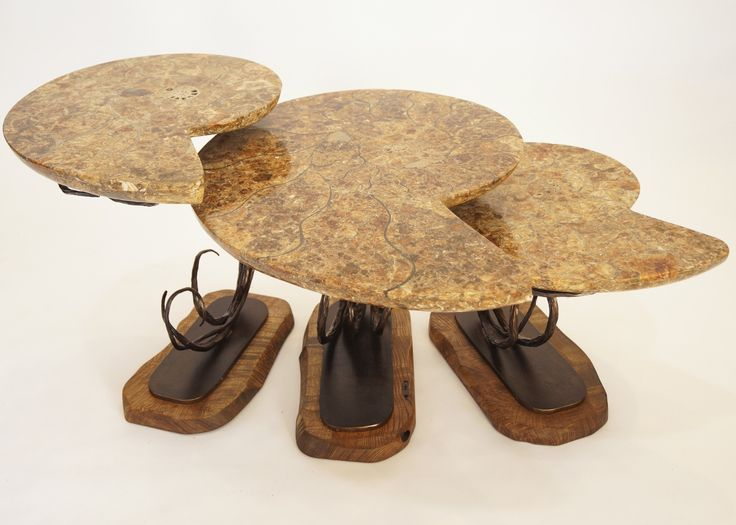 James Vilona merges natural beauty with functional design to create timeless pieces of art.  These Ammonite fossils date back millions of years to when dinosaurs roamed the earth, and have been skillfully handcrafted into one of the most unique tables we have ever seen.  #fineart #art #functionalart #ammonite #table
