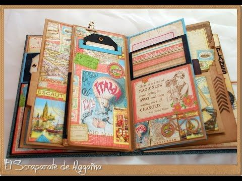 Diario de viaje con la colección Come Away With Me de Graphic45. En este enlace https://www.youtube.com/watch?v=i522o... podéis ver un tutorial de como está ...