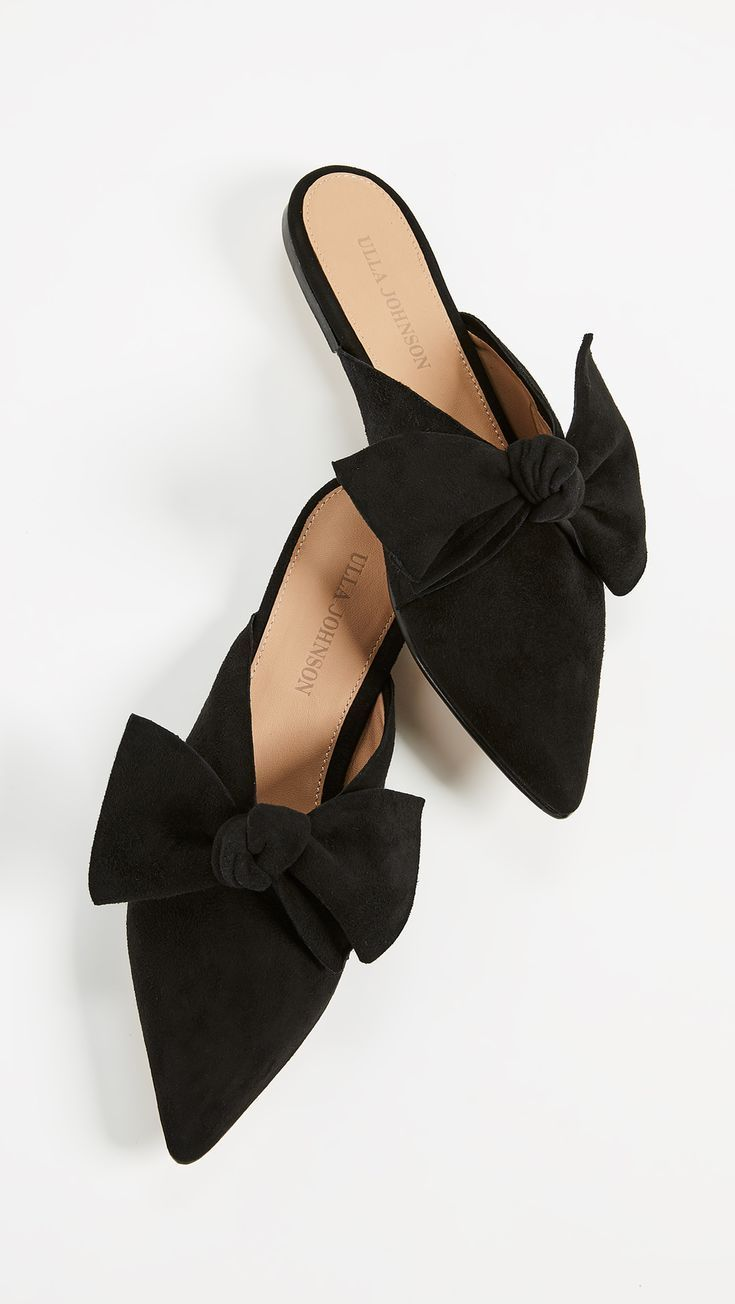 Black Suede Bow Mules Flats | Flat