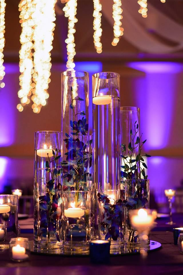 Blue orchid wedding centerpieces