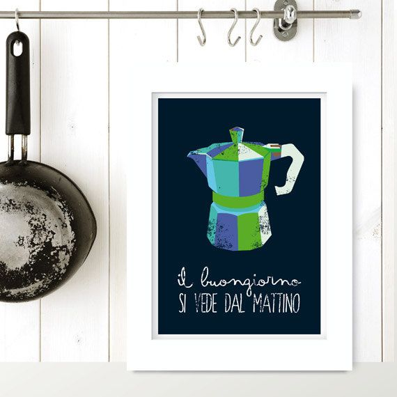 Italian coffee maker - IL BUONGIORNO... -  kitchen art, poster, print, italian moka, letterpress. Kitchen vintage