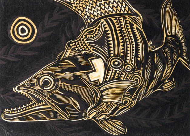 Michel Tuffery, Number Eight Valu Polynesian Players, woodcut and embossing on 760 x 560 mm paper, from an edition of 5, 2011. NZ$120...