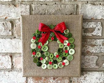 Items similar to Christmas burlap button tree art on Etsy