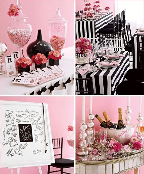 Black, White, and Pink Themed Party. This could be a Barbie party, Graduation or wedding. So cute and fun looking! The stripes are really awesome.