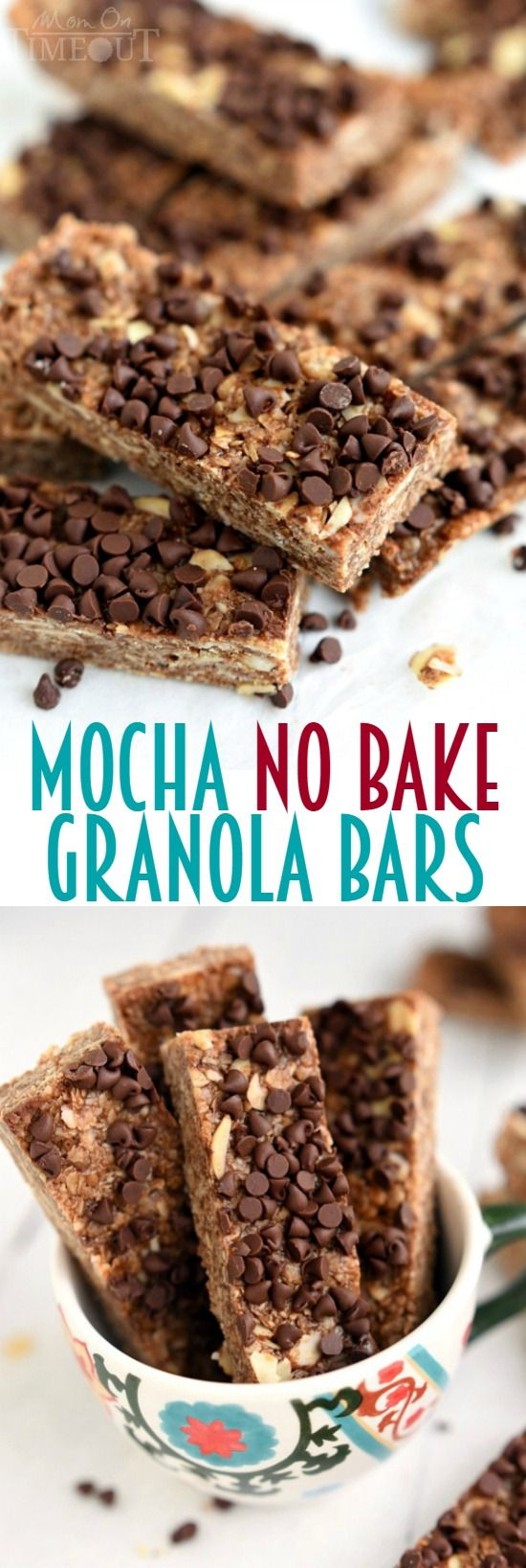 These Mocha No Bake Granola Bars are perfect for a grab-and-go breakfast or an afternoon pick-me-up snack! | MomOnTimeout.com |