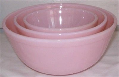 Mosser Pink Milk Glass Crown Tuscan SET OF 3 Mixing Bowls - love, love, love!