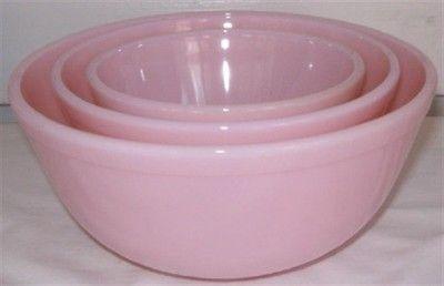 Mosser Pink Milk Glass Crown Tuscan SET OF 3 Mixing Bowls -