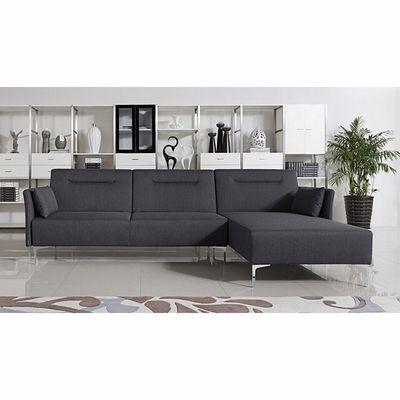 Chaise Sofa Divani Casa Rixton Modern Grey Fabric Sofa Bed Sectional