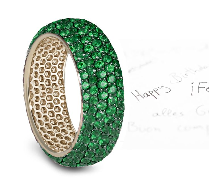 Stunning Pave Set Emerald Diamond Eternity Band Eternity