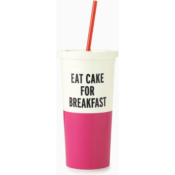 Kate Spade Eat Cake For Breakfast Insulated Tumbler ($14) ❤ liked on Polyvore featuring home, kitchen & dining, drinkware, kate spade and kate spade tumbler