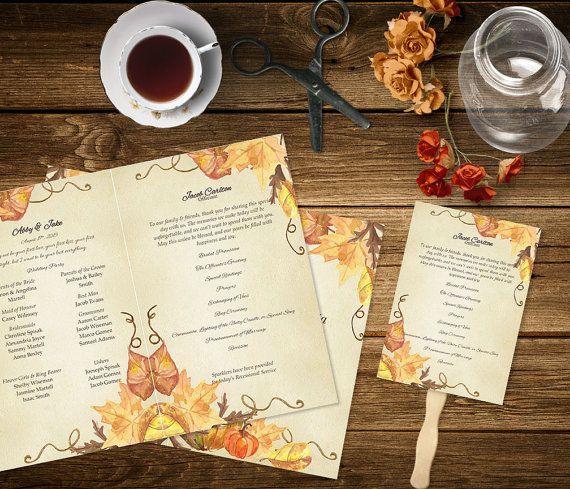 Pumpkin Printable Fall Wedding Program Template Order Of
