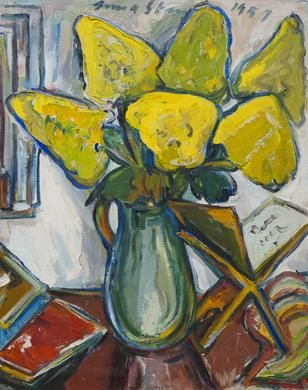 IRMA STERN (South African, 1894-1966) Still life with golden-rod flowers