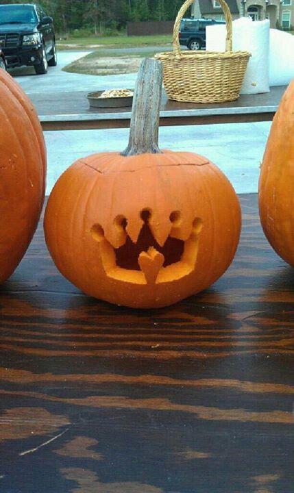 Princess crown carved pumpkin