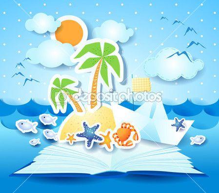 Отдых на пляже, книга — Векторная картинка #26605989
