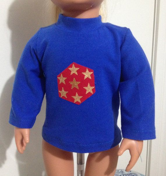 Long sleeve tee shirt in bright blue with gold star by TangledKat