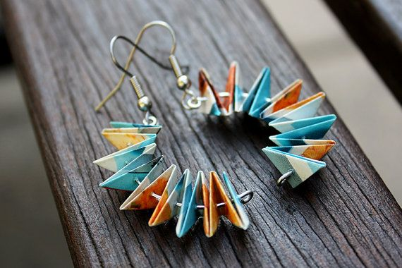 Unique Paper Earrings. Curved Zigzag Design. Blue & Orange. By ThePaperer, $20.00