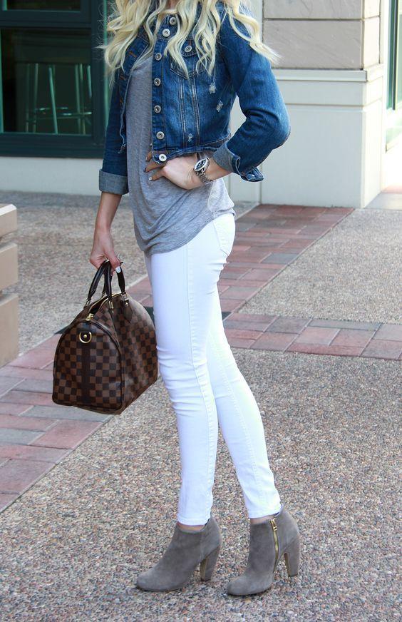 Summer Fashion | What to Wear With White Jeans - Denim jacket, gray t-shirt, and suede ankle boots—casual weekend attire @stylecaster