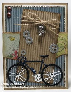 card bike bicycle for men sport sporty gear gears #bikecard Anja Zom kaartenblog. Marianne Design bicycle and mini cogs dies masculine gear