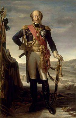 Le maréchal Louis Nicolas Davout, duc d'Auerstaedt et prince d'Eckmühl. Huile sur toile de Tito Marzocchi de Belluci d'après Claude Gautherot, vers 1852. Né le 10 mai 1770 à Annoux (Yonne) et mort le 1er juin 1823 à Paris1, est un général français, maréchal d'Empire.Seul maréchal de Napoléon à n'avoir jamais été vaincu. Louis Nicolas Davout épouse le 12 novembre 1801 Louise-Aimée-Julie Leclerc (1772-1868), sœur du premier mari de Pauline Bonaparte, qui lui donna dix enfants.