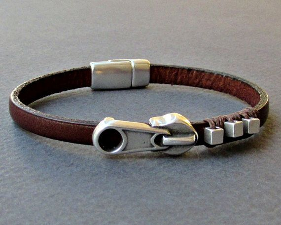 Zipper  Mens Leather Bracelet Cuff Dainty Silver Unisex by GUSFREE