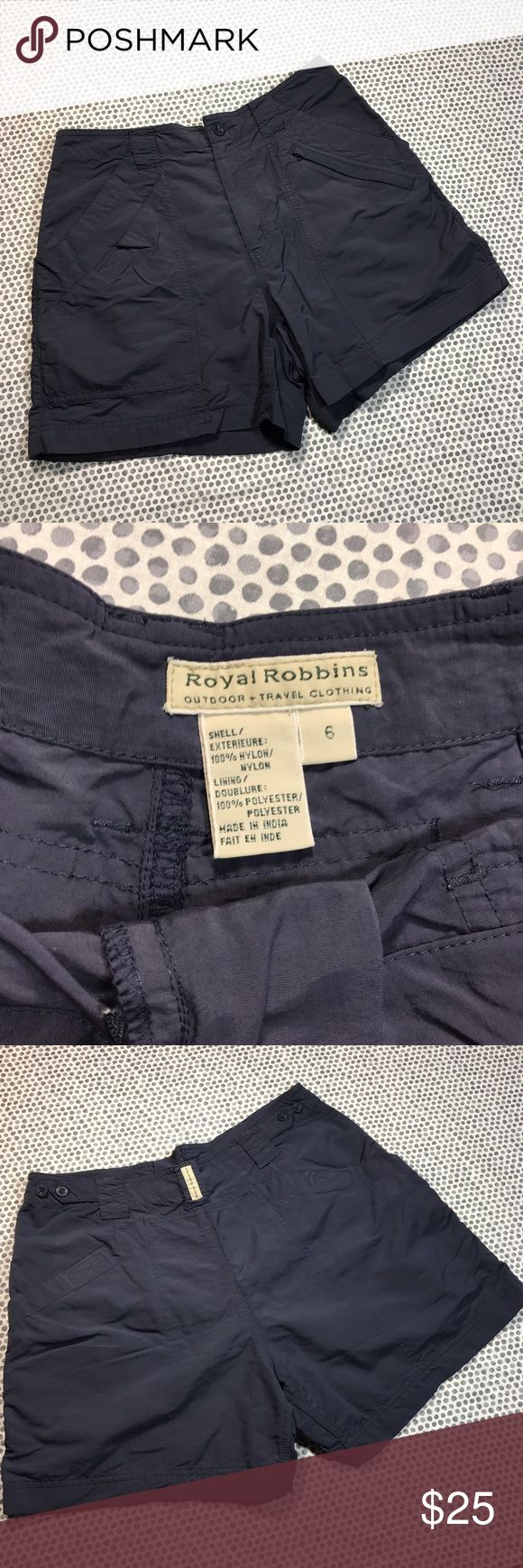 Royal Robbins Gray Outdoor Hiking Shorts w/Pockets * Royal Robbins Outdoor + Travel Clothing Gray Hiking Shorts.  * Size 6.  * Made of 100% nylon. Lining is 100% polyester.  * Pre-owned, but in excellent used condition. No holes, stains or pilling.  * Measurements: Waist laying flat is 14 1/2 inches. Length is 14 1/2 inches. Inseam is 4 1/2 inches. Rise is 10 1/2 inches. Royal Robbins Shorts
